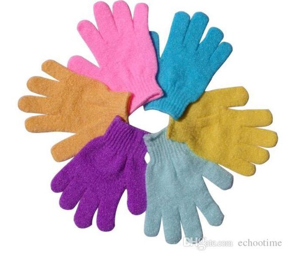 top popular Exfoliating Gloves Skin Body Bath Shower Loofah Sponge Mittens Scrub Massage Spa Bath Finger Gloves CCA5490 1000pcs 2019
