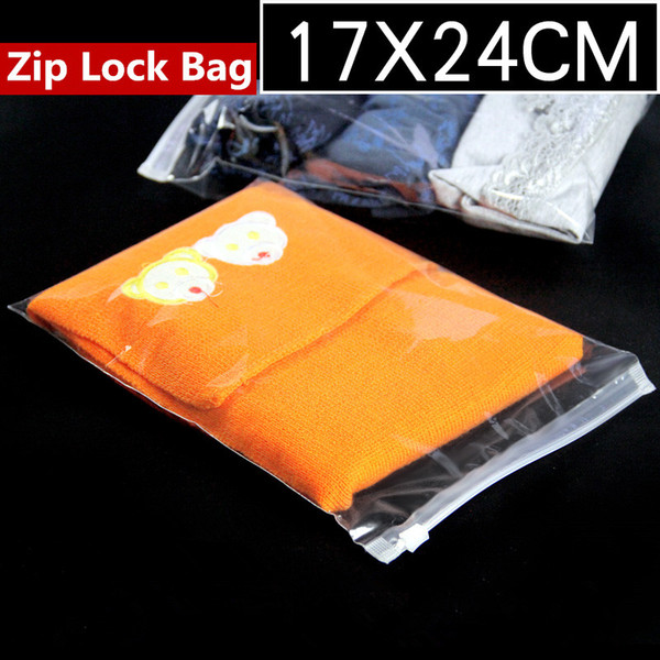 17x24cm Clear Plastic Garment Zip Lock Reusable Dress Packaging Bags Transparent Zipper Clothing Storage Self Seal Hermetic Package Pouch