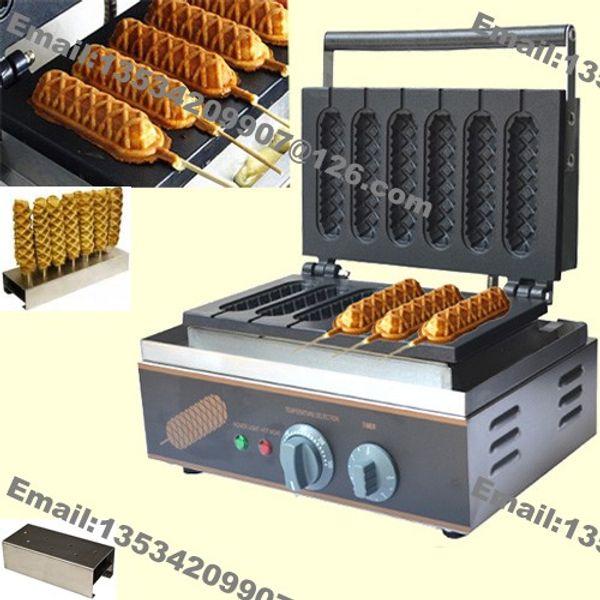 Trasporto libero 6pcs uso commerciale non stick 110 v 220 v elettrico francese hot dog waffle maker macchina Baker con supporto in acciaio inox stand