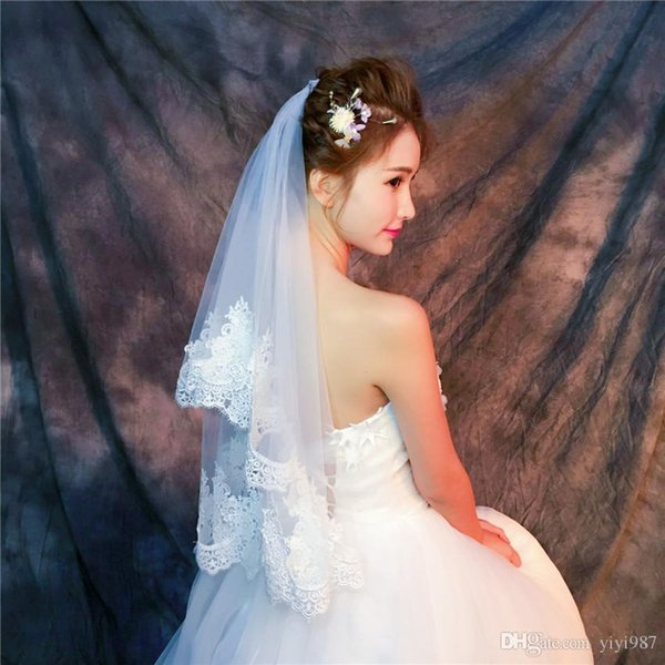 Y-O17 Wholesale Veils High Quality Real photos Purple White Netting Veils for Bridal Tulle with Lace Fast Free shipping out Veils