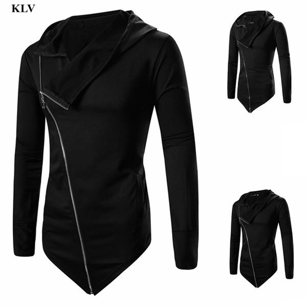 Hot Men Fashion Irregular Zipper Coat Autumn Winter Casual Solid Turn Down Hooded Jacket Overcoat Outwear Tops Blouse