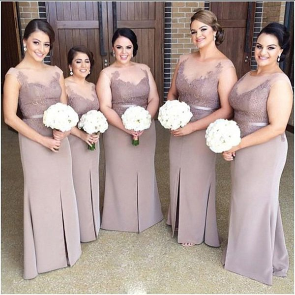 Inexpensive new 2016 wedding formal Bridesmaid Dress high collar bridesmaid Gown long lace applique mother bridesmaid Dresses plus size