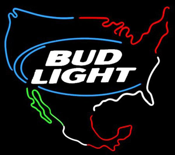"""Bud Light USA Map Neon Sign Custom Handmade Real Glass Tube Store Beer Bar Transport Commercial Advertising Display Neon Signs 19""""x15"""""""