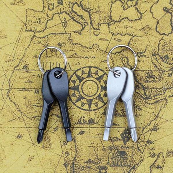 Llavero de herramientas de bolsillo multifuncional Llaveros de engranaje EDC al aire libre con ranura Phillips Mini juego de destornilladores Llaveros