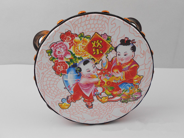 top popular HOT Tambourine Tamborine Drum Round Percussion Gift for KTV Party Drumhead 16cm with Steel Wipes Wooden Ring of Chinese traditional pat 2020