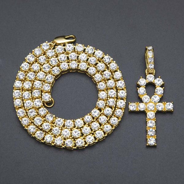 Egiziano Ankh Key Collane Mens Bling Placcato Oro Catena Strass di Cristallo Croce Iced Out Pendente Per donne Rapper Hip Hop Gioielli