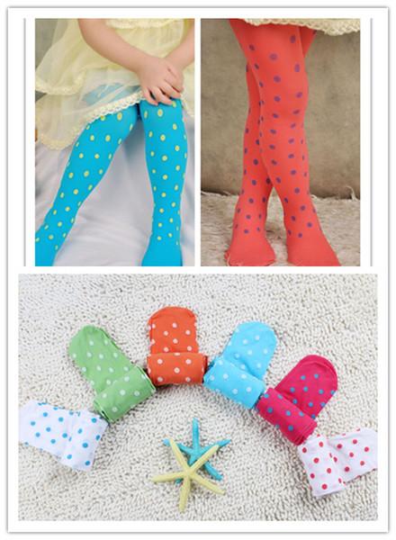 Cute Velvet Pantyhose Tight For Kids Girls Toddler Candy Colors Skinny Polka Dots Jacquard Leggings Free Shipping