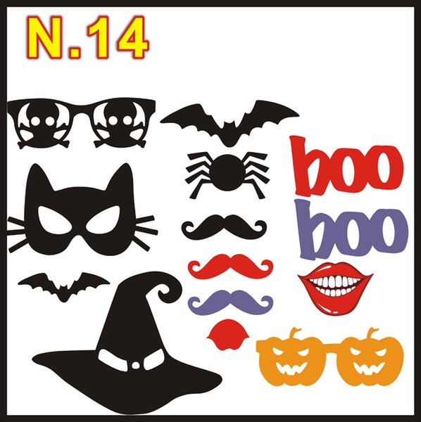 1set 14pcs Halloween party Photo Props Moustache Hat Small Eyes Paper Beard Wedding Party Supplies Bachelorette Party Photo Booth