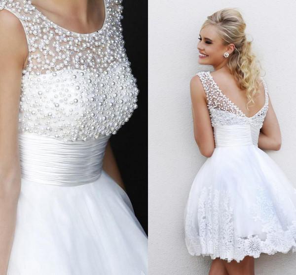Discount Custom Made 2016 Reception Dress White Scoop A Line Short ...