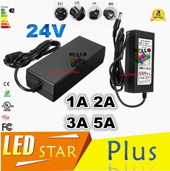 AC 110-240V To DC 24V 1A 2A 3A 5A Power Supply Charger Converter Adapter For Led Strip UK/EU/US/AU Plugs