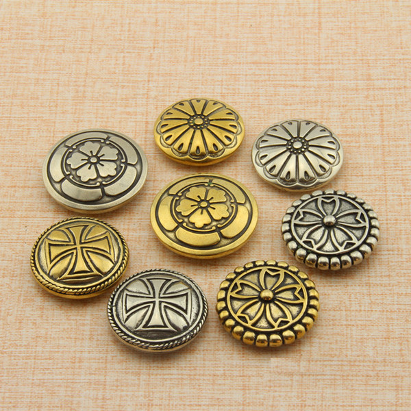 free shipping creative flower carved decorative buckle leather button DIY handmade leather wallet screw hardware part craft