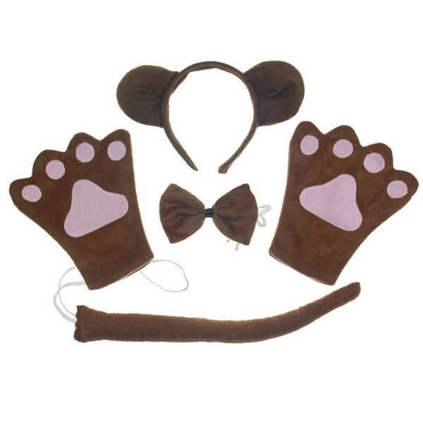 Monkey Ear Animal Headband Bow Tie Tail Paws Children Kids Costume Cosplay Party Children Day Decorations