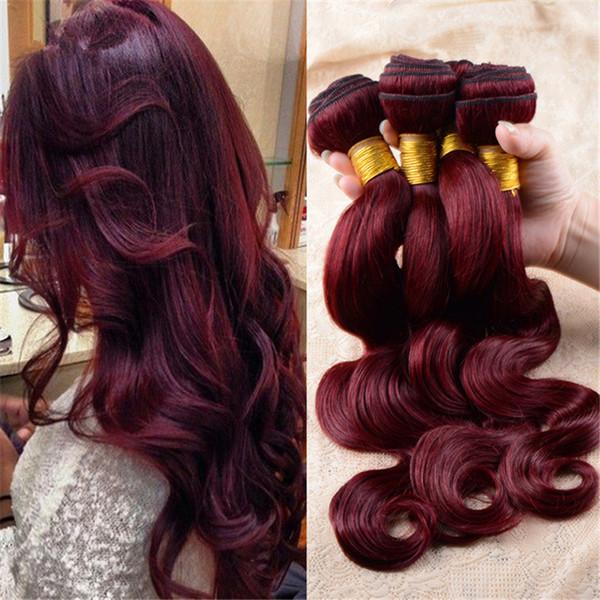 3Pcs Lot Brazilian Wine Red Body Wave Human Hair Extensions Pure Color 99J Burgundy Brazilian Human Hair Weave Bundles