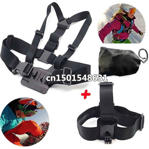 Free Shipping GoPro Chest Belt And GoPro Head Strap For GoPro Hero2, Hero3, Hero 3+,Hero 4 SJ4000 Camera accessories