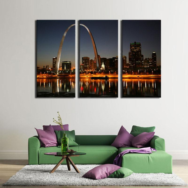 3 Picture Combination Art Wall City Sea View Art Panels Like Painting The Picture Print On Canvas For Home Modern Wall Decor