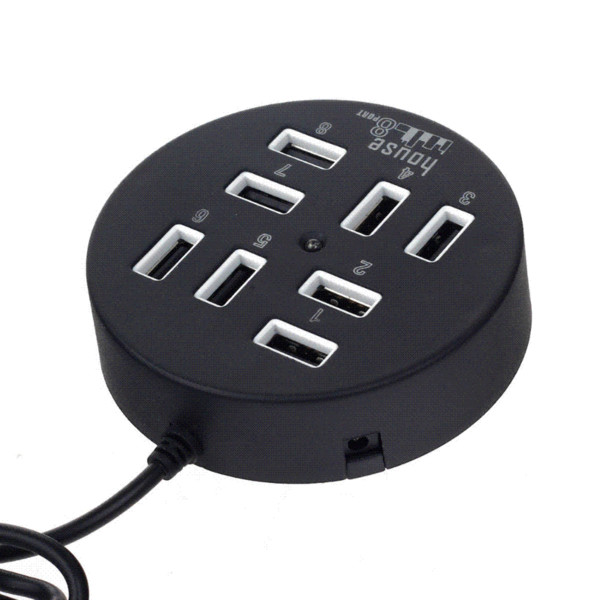 Computer Accessories Round Circular 8 Ports USB 2.0 Splitter Adapter Hub Converter 480mbps 60cm Cable High-Speed For PC Laptop
