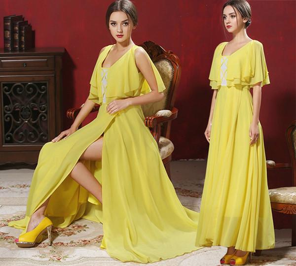 Summer Dresses Women Sexy Split Chiffon Maxi Dress Bohemian Long Dress Floor-Length Ball Gown Beach Party Evening Dresses Size S-XL