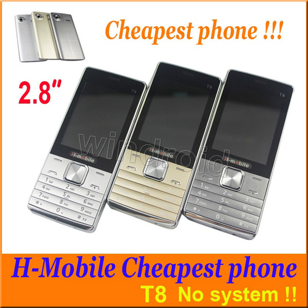 Cheapest 2.8 inch 2G Qwerty Phone T8 Dual SIM Card GSM Cell phone H-Mobile Bluetooth Camera MP3 Flashlight Free With Case DHL 30pcs