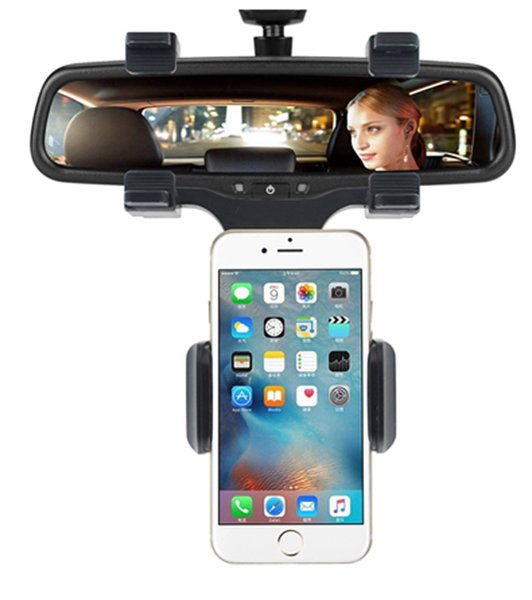 Anti-slip Auto Car Rearview Mirror Mount Holder 360 Degrees Mobile Cell Phone GPS Stands for PAD iPhone x 8 plus Samsung Smartphone