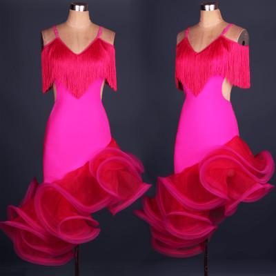 2018 Custom Made New Arrival Latin Dance Dress Women Lady Clothing For Dance Stage Costumes Tassel Dancing Dress For Women Dancewear XS-XXL
