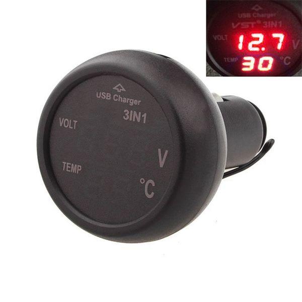 VST-706 2 color New 3 in 1 Digital LED car Voltmeter Thermometer Auto Car USB Charger 12V/24V 2.1A 5V Temperature Meter Voltmeter Chargers