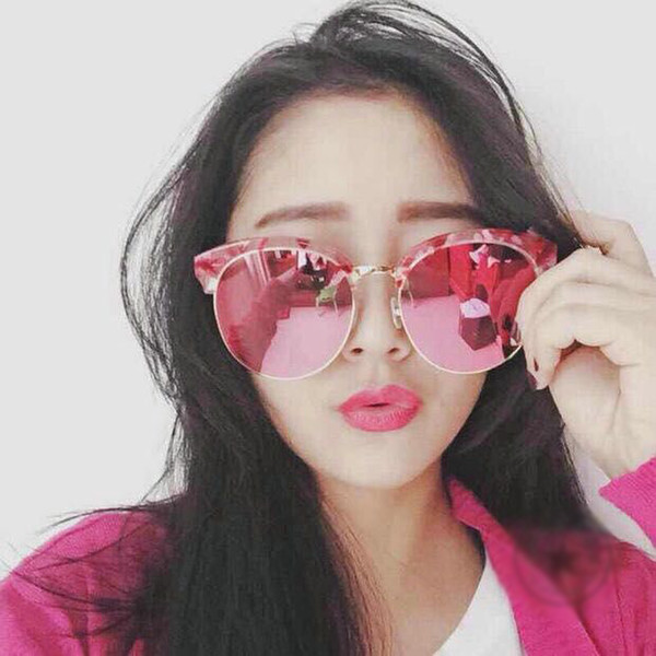 fashionable ladies glasses  2016 Korean Style Half Frame Sunglasses Big Frame Sunglasses ...
