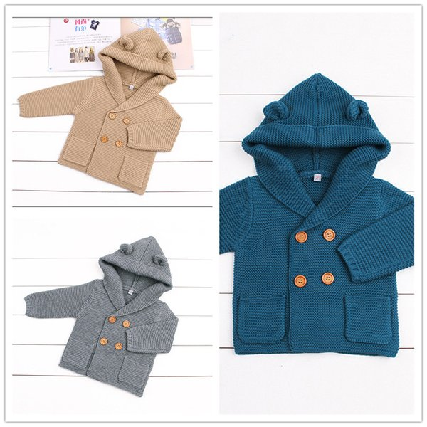 Baby simple styles Hooded Jumper 3colors 6-24m cute ears hoodie knitting swearters infants autumn winter warm fashion coat for 6-24m ins hot