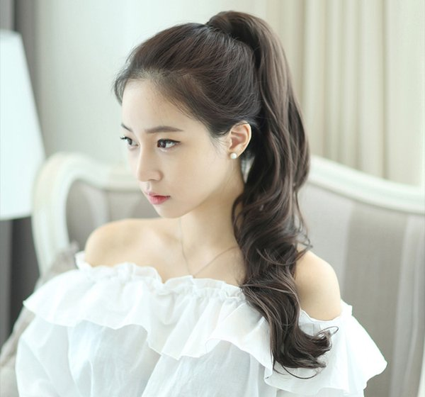 24 inch big wave curly hair fake ponytail matte lifelike pear flower has a long pigtails Lovely Fresh and Vivid Style Wearing a convenient