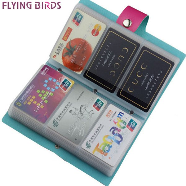 Wholesale- FLYING BIRDS!double Hasp women&men card bags name ID Business Card Holder High Quality Leather 96 Bank  Case LS4061fb
