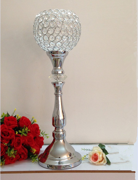 Classic silver finish wedding candle holder with crystals event or party candle stand home decor metal candlestick 1 lot = 10 pcs