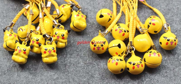 New 100 pcs Cute Anime Yellow Pikachu Pendant Cell Phone Charm Straps with Bell Cartoon For Gift Free Shipping