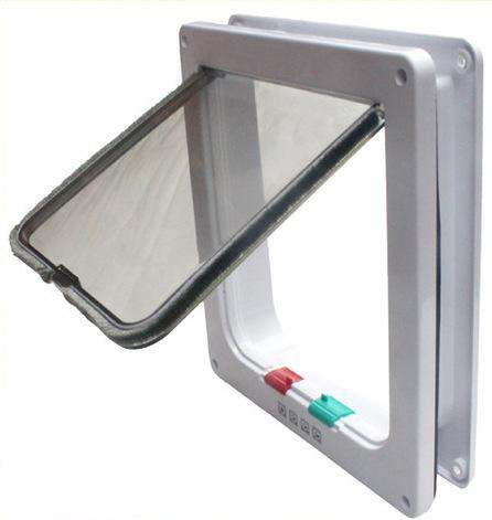 Indoor and Outdoor 4 Way Locking Cat Door Cat Safe Flap Lockable for Small Dog Puppy White 3 sizes available Free Shipping Exit and Entryi