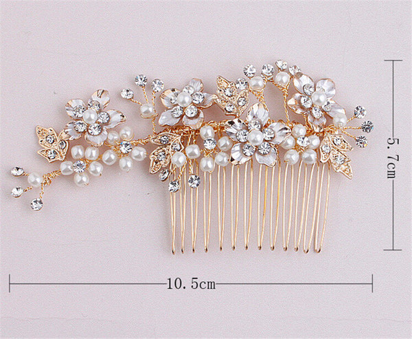 Wholesale Wedding Headpiece Hair Comb Bridal Crystal Rhinestone Hair Accessories Jewelry Gold Flower Pearl Crown Tiara Headband Clips Pins