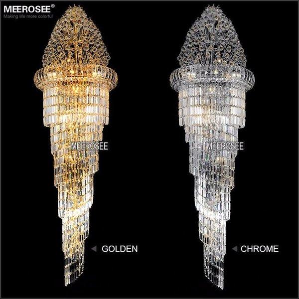 Long crystal chandelier light fixture classic golden chrome hotel long crystal chandelier light fixture classic golden chrome hotel crystal lamp for lobby stair hallway 100 aloadofball Choice Image