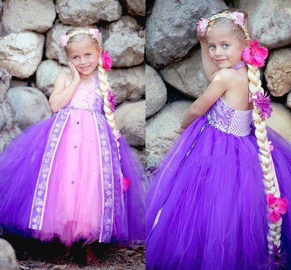 Halter bonito Vestidos Da Menina de Flor Para O Casamento 2017 Roxo E Rosa Tulle Ruffles vestido De Baile Meninas Pageant Vestidos Crianças Vestidos de Festa de Formatura
