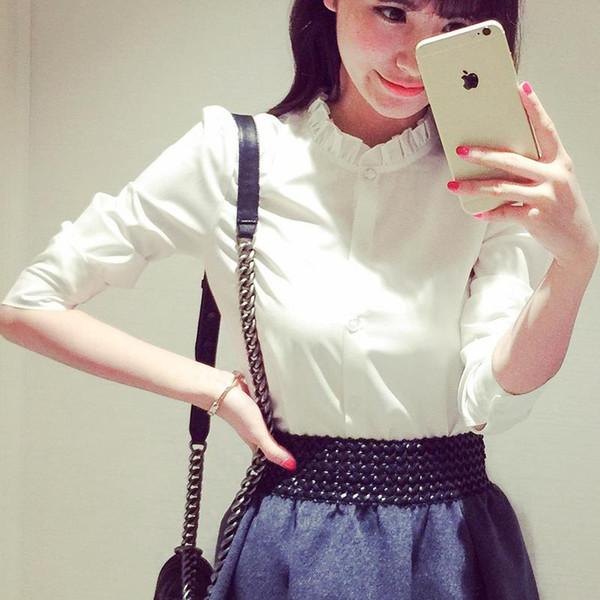 Camisas de gasa de negocios de las mujeres 2017 nueva manga larga de señora White Button Formal de color sólido Tops formales de alta calidad