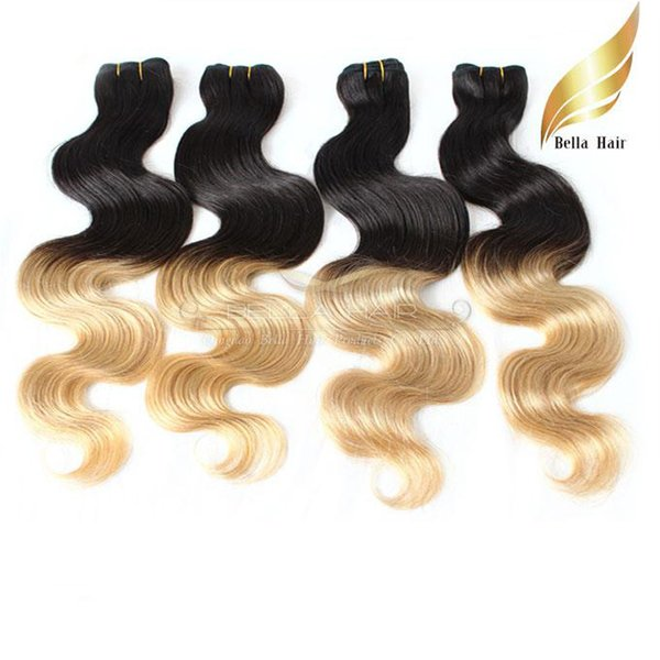"Brazilian Hair Weaves Hair Extensions Weft Ombre Human Hair Dip Dye Two Tone #T1B/#27 Color 14""-26"" 3PC Body Wave Bellahair 7A"