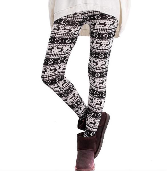 Colorful christmas snowflake leggings Printed Silk Legging girls Women spring Warm Pants free shipping in stock