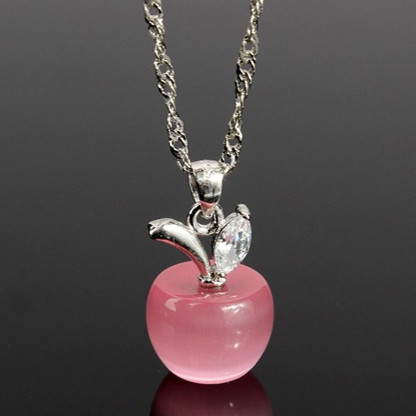 2016 New Fashion 925 Sterling Silver Necklace Pendants Clear/Pink Opal Apples Crystal Faux Diamant Lovely Necklaces