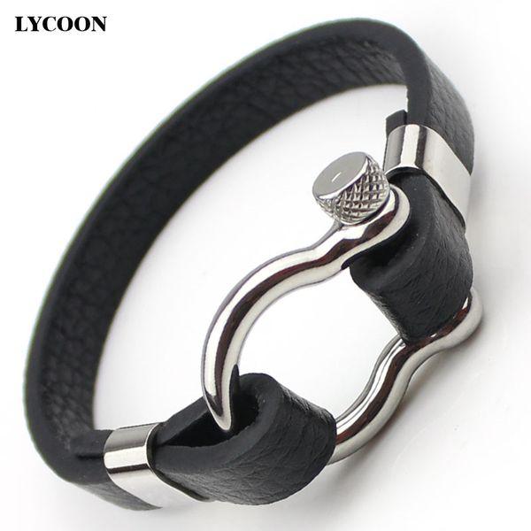 Titanium Stahl D Knoten Schraube Manschette Armreifen Edelstahl poliert echtes Lederarmband für Männer Mode klassischen Design Uhr Handgelenk Armreif