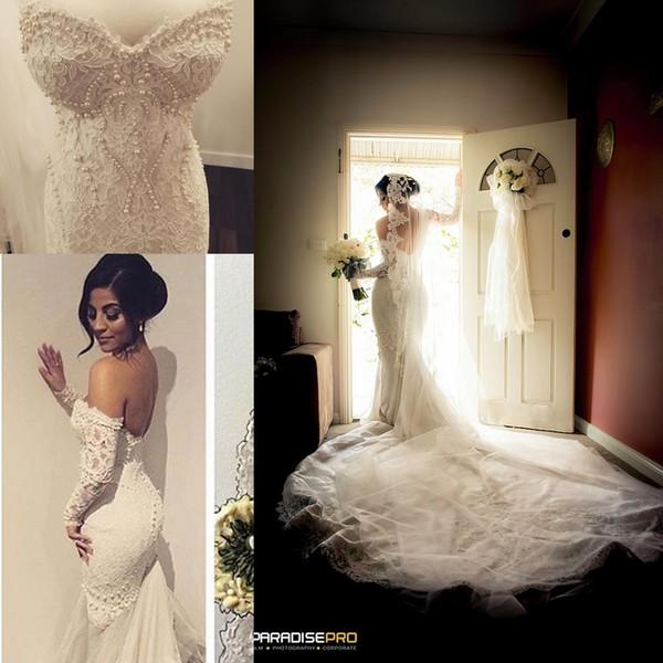 Royal Luxury Chapel Train Lace Mermaid Wedding Dress Pearl Sweetheart Bridal Gowns 2017 Tulle Fishtail vestidos