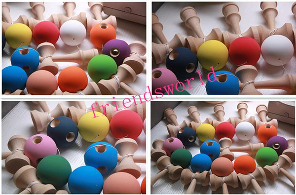 DHL Fedex Free Shipping Rubber Kendama Ball Japanese Traditional Wood Game Kids Toy Rubber Paint & Beech 100pcs/lot