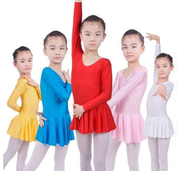 top popular Long sleeved Spandex Gymnastics Leotard for Girls Ballet Dress Clothing Kids Dance Wear 2019