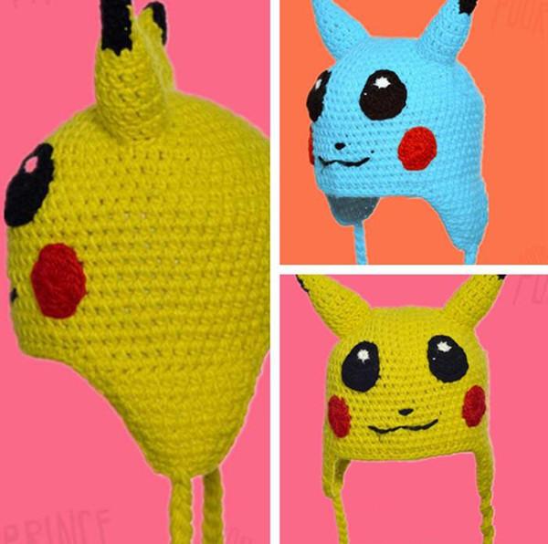 Best Cartoon Pikachu Handmade Crochet Hats Beanie Winter Bomer Hat ...
