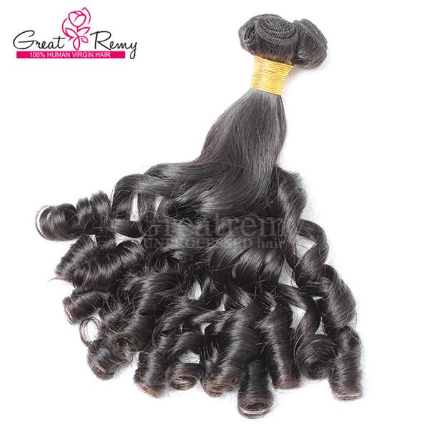 Greatremy® 3pcs / lot 8A 100% Trames de cheveux brésiliens Aunty Funmi Extensions de cheveux Spiral Curl Boucles Bouncy de couleur naturelle Les cheveux tissent bébé bouclé