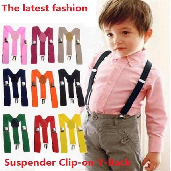 300 pcs Wholesale Children Clip-on Adjustable Elastic Pants Y-back Suspender Braces Belt children Black BOYS/GIRLS Suspender 0382