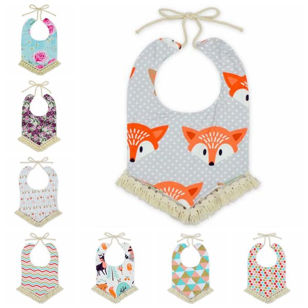 12 Styles Baby Bandana Bibs INS Burps Cloths Newborn Tassel Saliva Towels Infant Cotton Bibs Scarf Kids Cartoon Fox Dot Burp CCA6990 30pcs