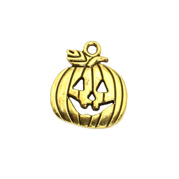 15 unids Antique Gold Plated Pumpkin Mask Charms colgantes para la joyería que hace DIY collar Craft 19x16mm