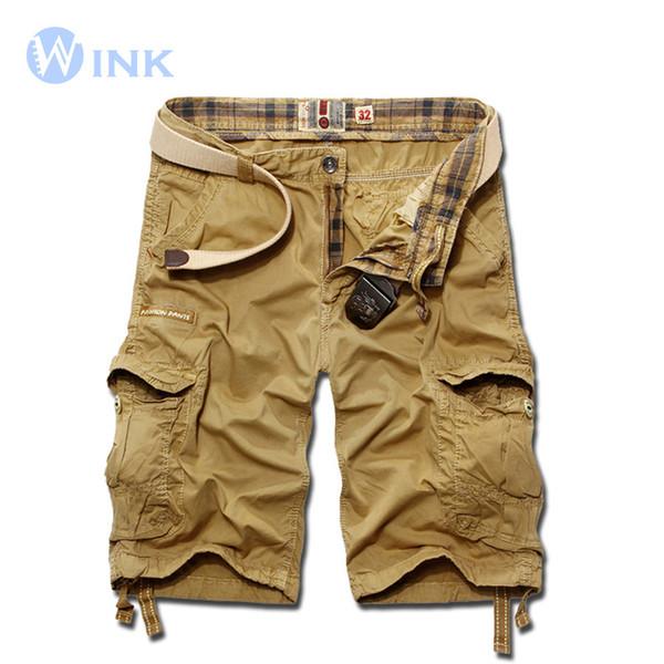 Venta al por mayor-Nuevos hombres de marca de color sólido Bermudas sueltos pantalones cortos de carga Hombres Masculina Diseño de gran tamaño Multi-Pocket Overoles 4 colores A057