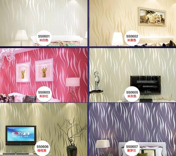 Modern Wave Striped 3d Embossed Purple/Black/Beige Wallpaper Roll ...